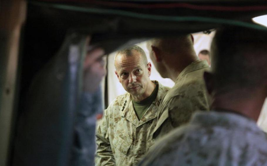 Gen. John R. Allen, commander of the International Security Assistance Force and U.S. Forces - Afghanistan, during a battlefield circulation Thursday in Gereshk district, Helmand province.