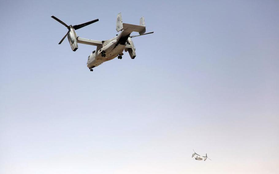 Two MV-22 Osprey aircraft, one with Gen. John R. Allen commander of U.S. and coalition forces in Afghanistan, take off Thursday from Combat Outpost Ouellette in Gereshk district, Helmand province.