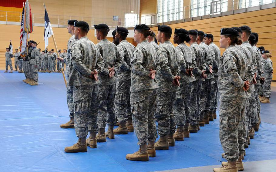 Soldiers of V Corps attend a  ceremony Friday marking the move of the corps from Heidelberg, Germany, to Wiesbaden. A scheduled  inactivation in 2009 was postponed, then canceled, as V Corps remains the only permanently forward deployed corps in the Army.