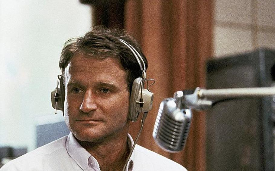 """Robin Williams in character of Adrian Cronauer in the movie """"Good Morning Vietnam,"""" 1987."""