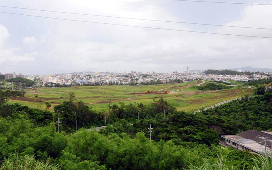 The former Awase golf course in central Okinawa was a military recreation spot for U.S. servicemembers until it was returned to the island last year. Now, plans call for it to be redeveloped into a mall, hospital, hotel and residental area. Okinawa hopes the site will be as successful as two other major commercial complexes built on the site of former military land.