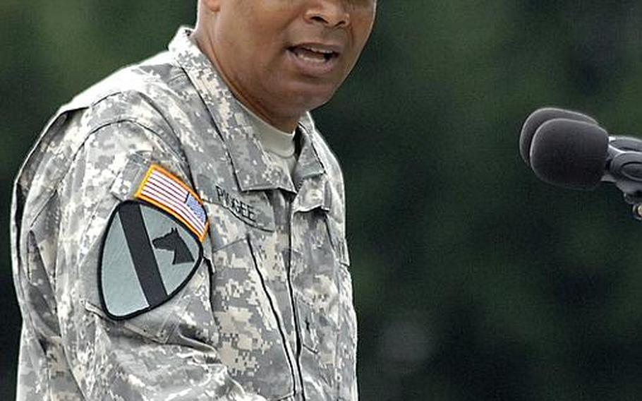 Brig. Gen. Aundre Piggee took over the reins of the 21st Theater Sustainment Command from Maj. Gen.Patricia McQuistion at a ceremony at Daenner Kaserne in Kaiserslautern, Germany, on Thursday.