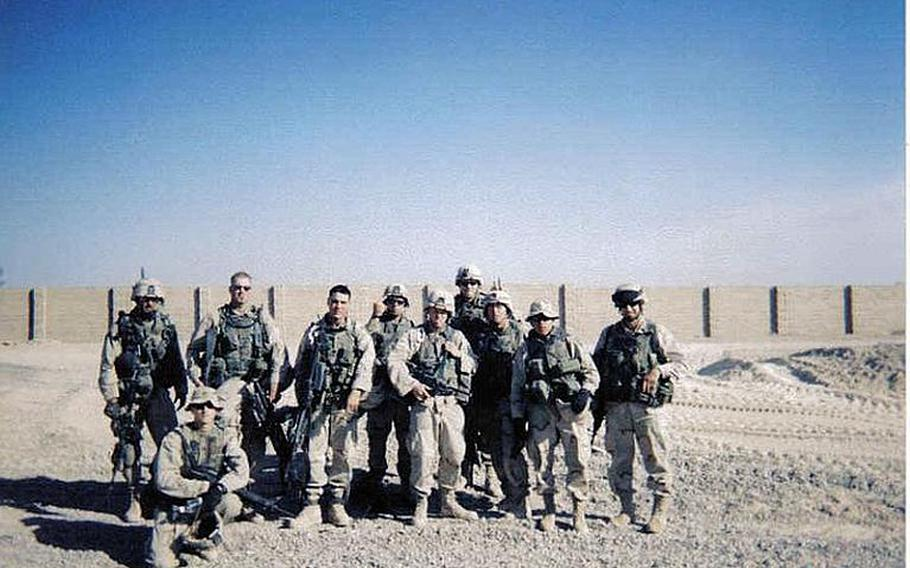 24p cs Jamey Raines, fourth from left, then an Army sergeant, poses with soldiers from his platoon during their 2003-2004 deployment to Iraq. Raines says using marijuana helped him keep his post-traumatic stress disorder under control while he attended college on the GI Bill.