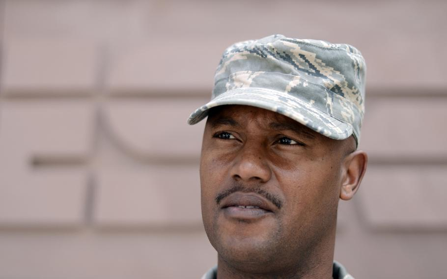 Senior Master Sgt. Rodney Gaines at Ramstein Air Base, Germany, on Wednesday, talked about the trial of Arid Uka, who is accused of killing of two U.S. airmen outside Frankfurt Airport in March.
