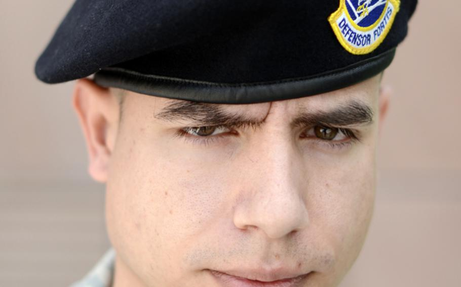 Tech. Sgt. Ryan Blume at Ramstein Air Base, Germany, on Wednesday, talked about the trial of Arid Uka, who is accused of killing of two U.S. airmen outside Frankfurt Airport in March.