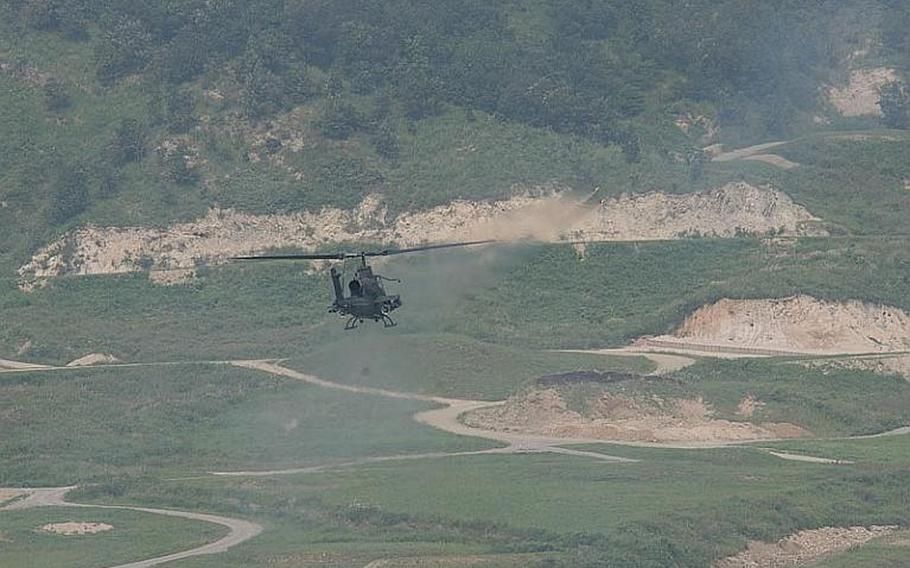 An AH-64D Apache Longbow fires on a target during an exercise Sept. 1, 2011, in South Korea. U.S. military officials said the exercise was designed to demonstrate how prepared the U.S. and South Korea are defend against any acts of aggression from North Korea.