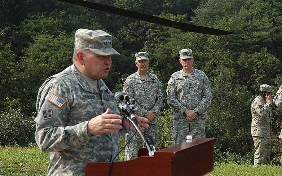 U.S. Forces Korea commander James D. Thurman, left, addresses the media after a joint U.S.-South Korean military exercise Sept. 1, 2011, as 8th Army commander Lt. Gen. John D. Johnson, right, and 2nd Infantry Division Maj. Gen. Michael S. Tucker, center, look on. Thurman said the exercise should send a message to North Korea that the U.S. and South Korea are prepared to respond to any acts of aggression.