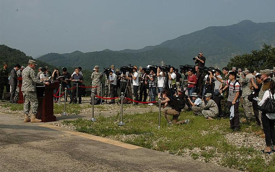 U.S. Forces Korea commander Gen. James D. Thurman, left, address more than 100 media representatives after a military exercise Sept. 1, 2011, south of the Demilitarized Zone during which, Thurman said, the U.S. and South Korean militaries demonstrated their readiness to respond to any acts of aggression from North Korea.