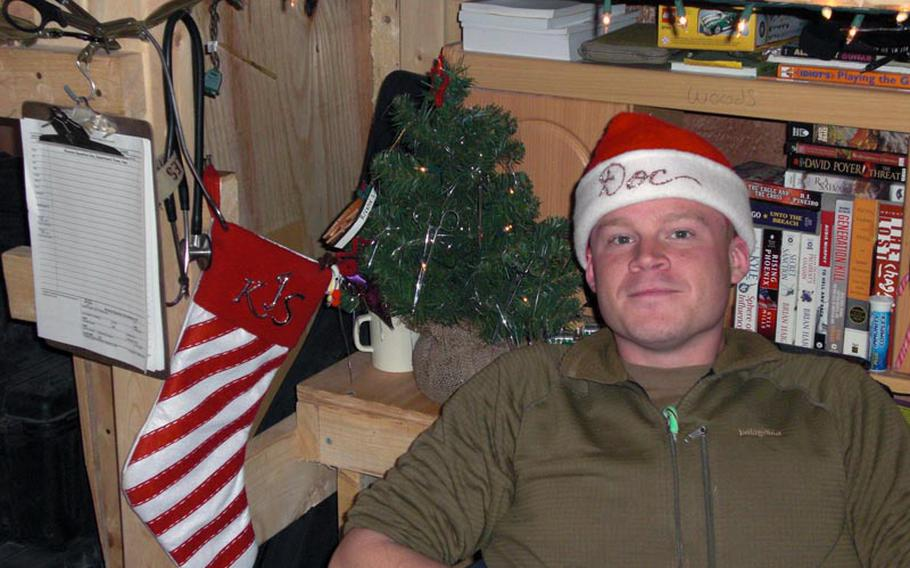 61p bs Photo7 Courtesy of Kyle Staples Navy corpsman Kyle Staples relaxes on base in Iraq on Christmas Day, 2008.
