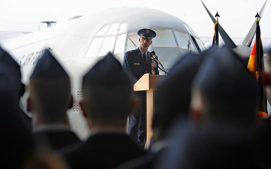 Outgoing 86th Airlift Wing commander Brig. Gen. Mark Dillon talks to his airmen one last time at the wing's change of command ceremony at Ramstein Air Base, Germany, on Friday. Brig. Gen. Charles Hyde took command of the wing, the largest in the U.S. Air Forces in Europe, at the ceremony.