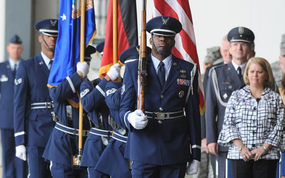 The 86th Airlift Wing color guard presents the colors at the beginning of the wing's change of command ceremony at Ramstein Air Base, Germany, on Friday. Brig. Gen. Charles Hyde took command of the wing from Brig. Gen. Mark Dillon.