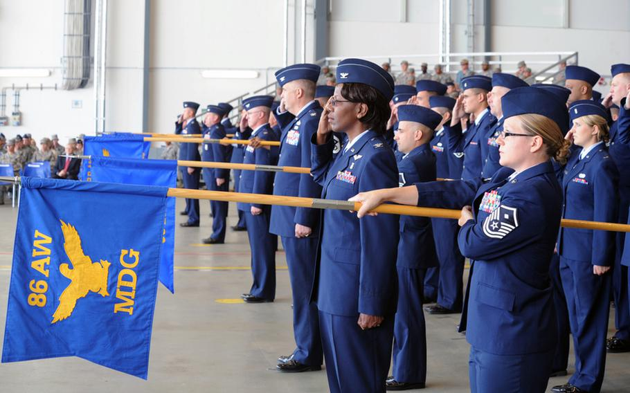 The squadrons of the 86th Airlift Wing give their outgoing commander, Brig. Gen. Mark Dillon, a final salute at the wing's change of command ceremony. Brig. Gen. Charles Hyde took command from Dillon at the ceremony at Ramstein Air Base, Germany, on Friday.