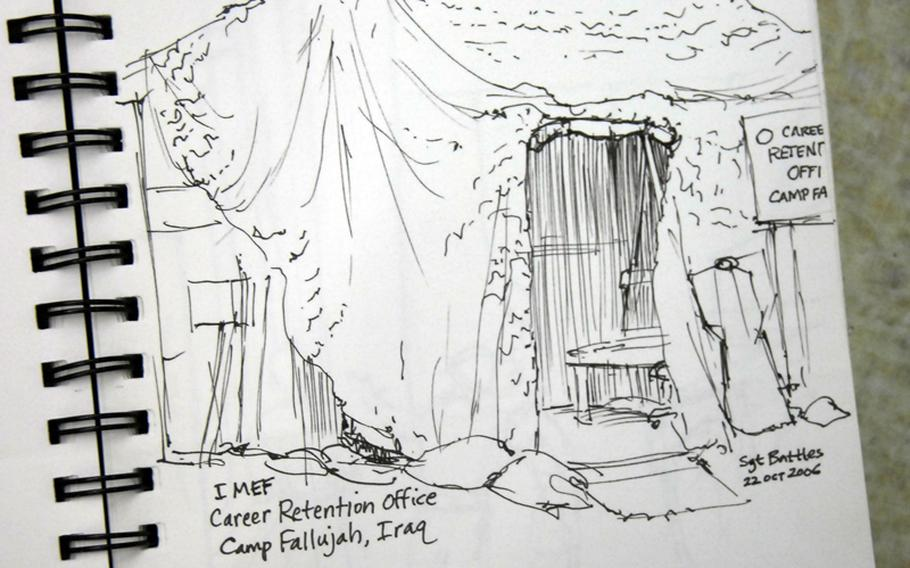Rough sketch: Career retention office, Camp Fallujah, Iraq, by Staff Sgt. Kristopher Battles. The note at the bottom says, ''This is my 1st subject in country ...''