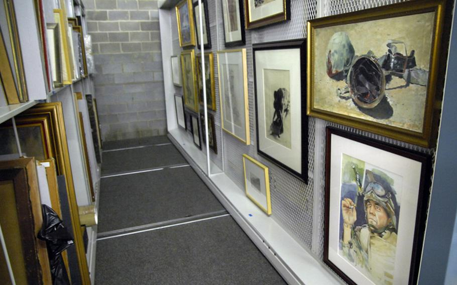 Some of the National Museum of the Marine Corps' art collection in storage at a facility near Quantico, Va.
