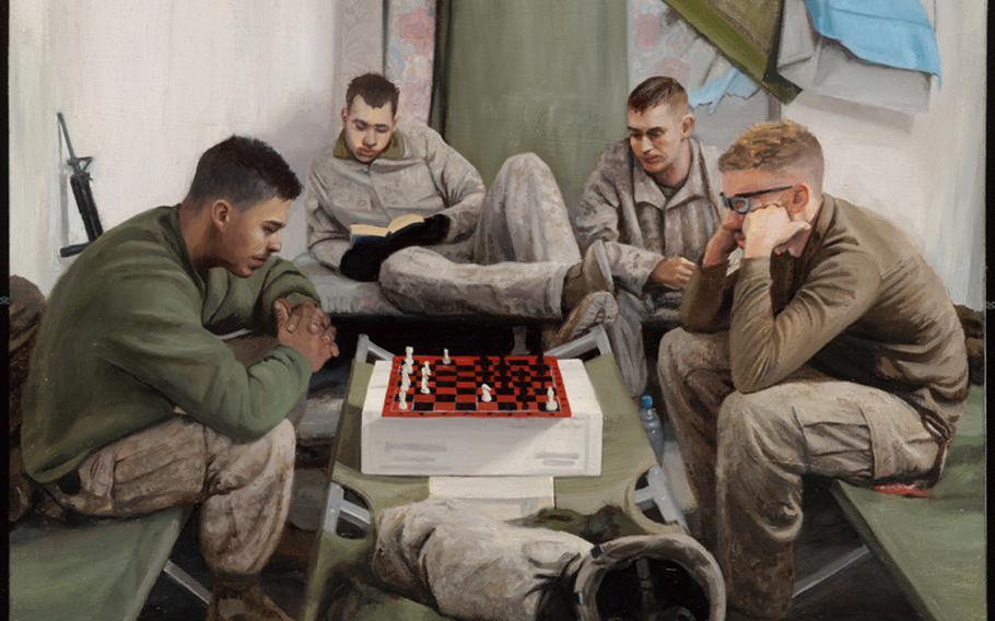''USMC Chess Game,'' by Staff Sergeant Kristopher J. Battles, USMCR, 2007. Marines play chess during deployment in Iraq.