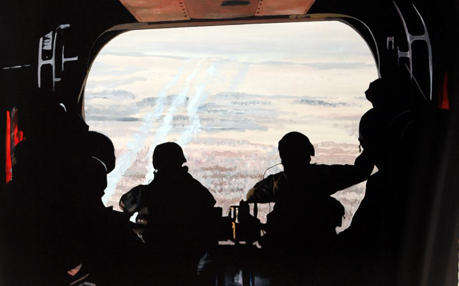''Tailgating Over the Valley,'' 2009, Afghanistan. By Army Master Sgt. Martin Cervantez. Twenty years earlier, Army artist Al Sprague painted virtually the same portrait.