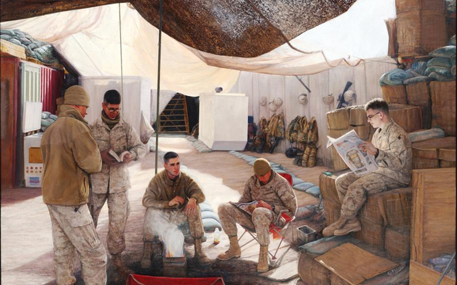''A Little Light Reading,'' 2008, by Marine Corps Staff Sgt. Kris Battles.  Marines enjoy some down time in Iraq.