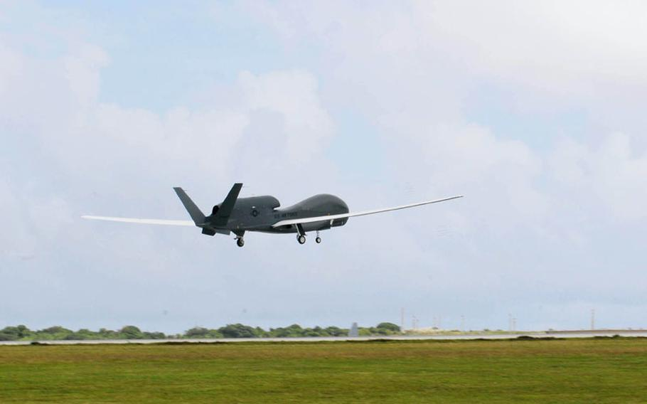 A Global Hawk takes flight. According to the aircraft?s manufacturer, Northrop Grumman, the Global Hawk flies at 60,000 feet and has a line-of-sight to targets more than 340 miles away.
