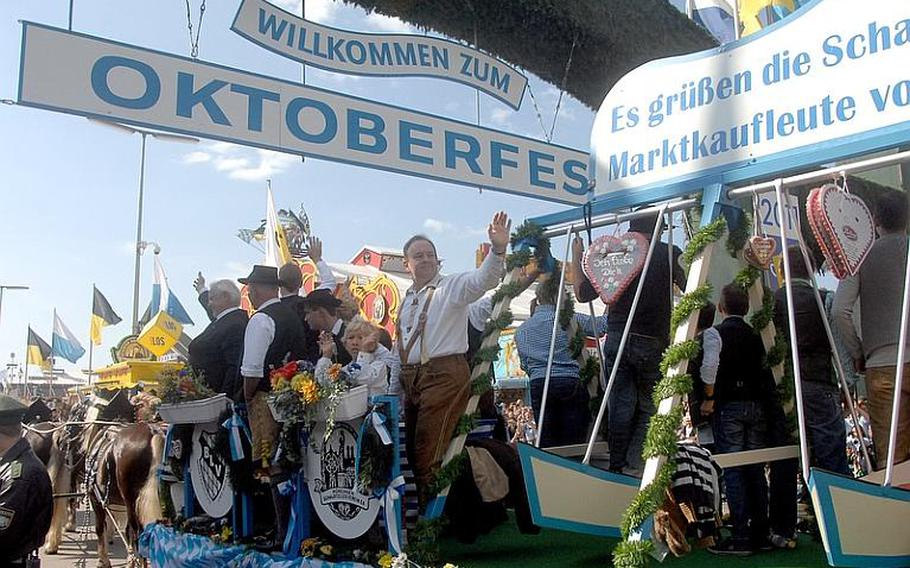 The parade of Oktoberfest ?landlords? (owners of the beer tents) and breweries on opening day events at Oktoberfest in Munich on Saturday. The fest runs through Oct. 3.