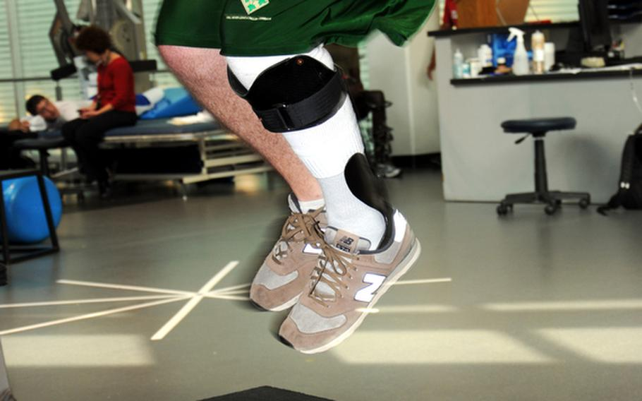Spc. Michael Krapels, a member of the Chosen Company, 2nd Battalion, 503rd Infantry Regiment, is able to jump again after being told that his lower leg would be amputated. Krapels was in physical therapy at the Center for the Inprepid at Fort Sam Houston, Texas,  in August, using the Intrepid Dynamic Exoskeletal Orthosis, and preparing to deploy with his unit.