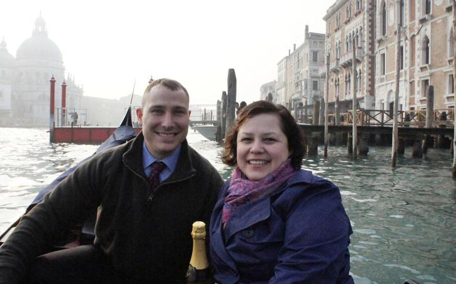 Senior Master Sgt. Mark DeCorte and his wife, Tech. Sgt. Lorretta DeCorte, on a gondola ride in Venice during a  couple's retreat last February that was sponsored by the Ramstein chapel. Air Force chaplains at Ramstein and across the service are reaching out to over-taxed and stressed-out military families, making the DeCortes among a growing number of Air Force couples to voluntarily attend a chapel-sponsored marriage retreat in recent years.