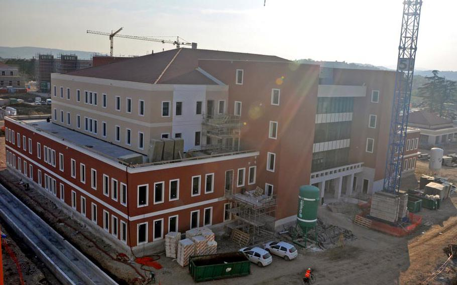 This building under construction at the Dal Molin airfield in Vicenza, Italy, will serve as the headquarters of the 173rd Airborne Brigade Combat team and four of its six battalions. About 2,000 soldiers and their families are expected to make the move from Bamberg and Schweinfurt in Germany in the summer of 2013.