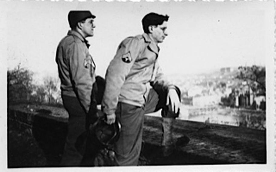 Jack Usadi, right, and an unidentified soldier in Europe sometime during 1944 or 1945.