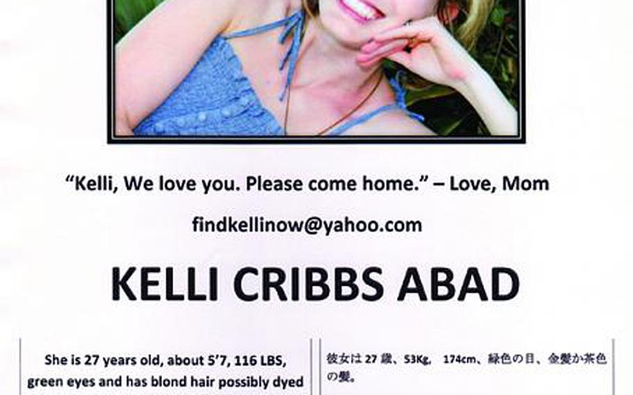 Missing posters went up at military bases and Japanese police stations as mother Janice Cribbs and the Kadena community searched for Kelli Abad. Now, her airman husband says she may have committed suicide.
