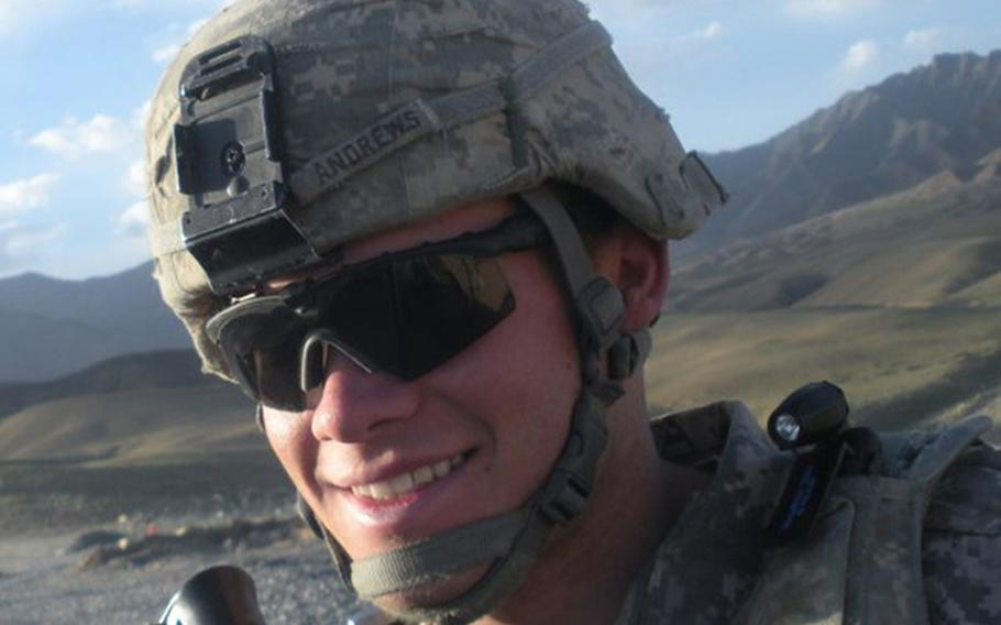 Former Army Spc. Jacob Andrews in a photo taken during his deployment to Afghanistan during 2009. Andrews committed suicide in April 2011 shortly after he was kicked out of the Army amid a confluence of mental health issues and behavioral problems. Now, Maj. Andrew DeKever is campaigning for the service to issue Andrews, posthumously, a combat infantryman badge and a Purple Heart.