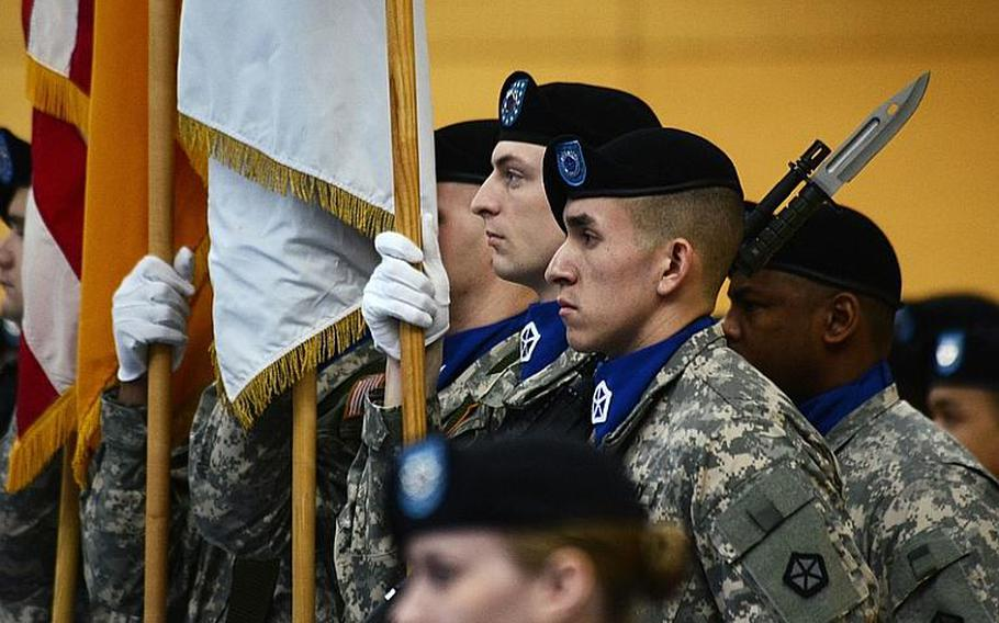 V Corps' color guard prepares to present the colors at the V Corps change of command ceremony at Wiesbaden Army Air Field, Germany, on Tuesday.
