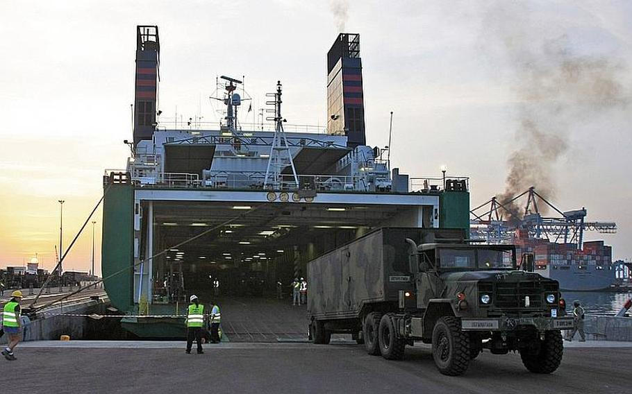 U.S. Army Europe troops offload missile launchers and other equipment at Israel's Port of Ashdod in advance of a missile defense exercise with Israel in 2009.