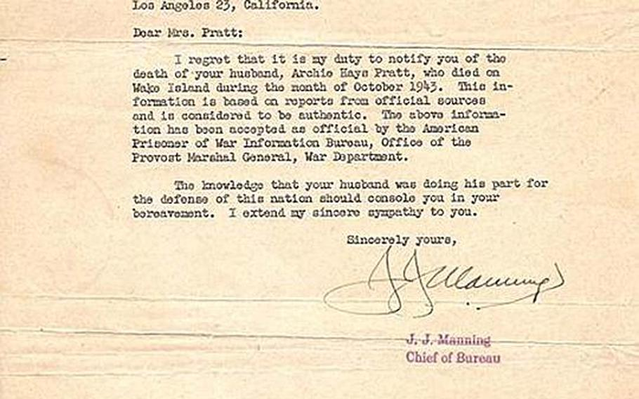 In this letter, dated Jan. 4, 1946, the Navy informs Art Pratt's wife, Marion, that her husband was killed as one of the Wake 98.