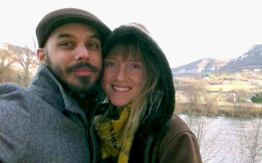 Louie Castro poses with his girlfriend, Lane Turkle, in France in December. Castro was visiting Turkle, who teaches English there, but he was arrested upon his return to the United States when it was discovered that the Army considered him AWOL and issued a warrant for his arrest. Castro left the Army nine years ago, but his discharge was apparently mishandled.