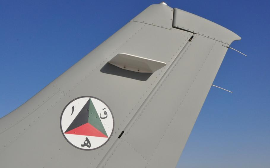 The insignia of the Afghan Air Force adorns the tail of a Cessna passenger plane used in pilot training at Shindand Air Base, where the 838th Air Expeditionary Advisory Group oversees Afghanistan's first-ever pilot training program.