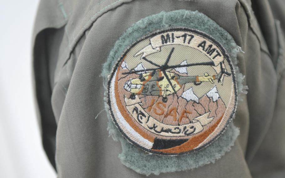 A patch worn by Afghan Air Force recruit Abdul Razeq, who is training to become a helicopter crew chief at Shindand Air Base in Herat province.
