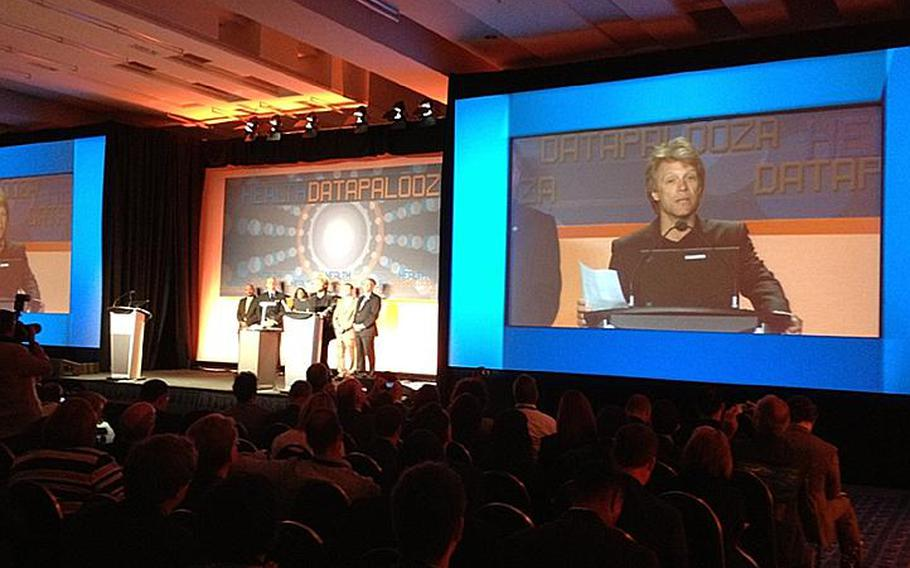 Rocker Jon Bon Jovi speaks to the audience at the Health Data Initiative Forum on Tuesday in Washington, D.C., about an interagency developer contest to create mobile applications focused on resources for homeless veterans.