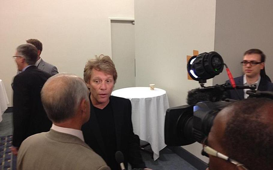 Rocker Jon Bon Jovi speaks to reporters Tuesday in Washington, D.C., about the interagency developer contest to create mobile applications focused on resources for homeless veterans.