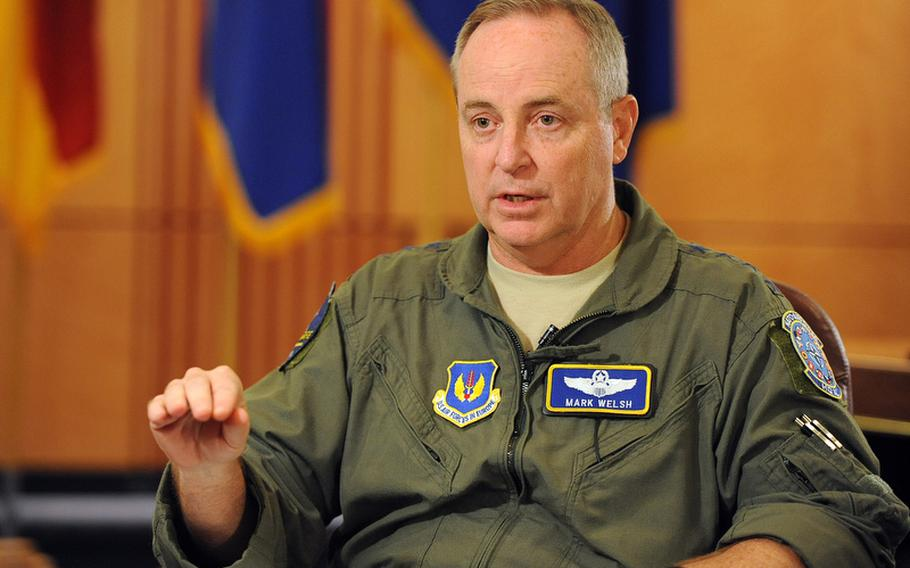 Gen. Mark Welsh III, outgoing commander of U.S. Air Forces in Europe and incoming Air Force chief of staff, talks about Air Force issues at USAFE headquarters on Ramstein Air Base, Germany, July 27.