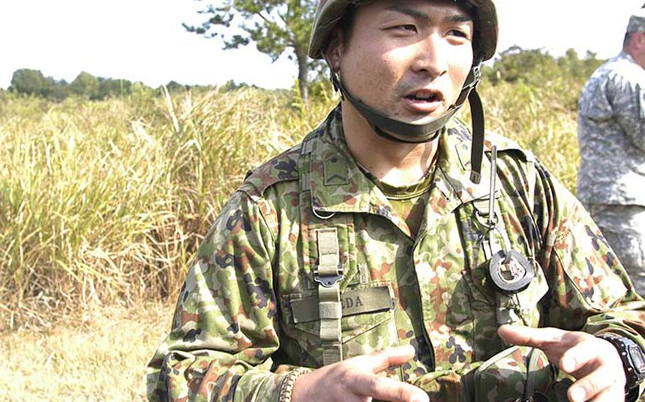 """Sgt. Naoto Ikeda, a reconnaissance scout with the 33rd Infantry Regiment,  explains to Stars and Stripes that after working with U.S. soldiers during exercise Orient Shield, he was surprised that Americans are so humble, polite and respectful. """"I had a different image of U.S. soldiers,"""" Ikeda said."""
