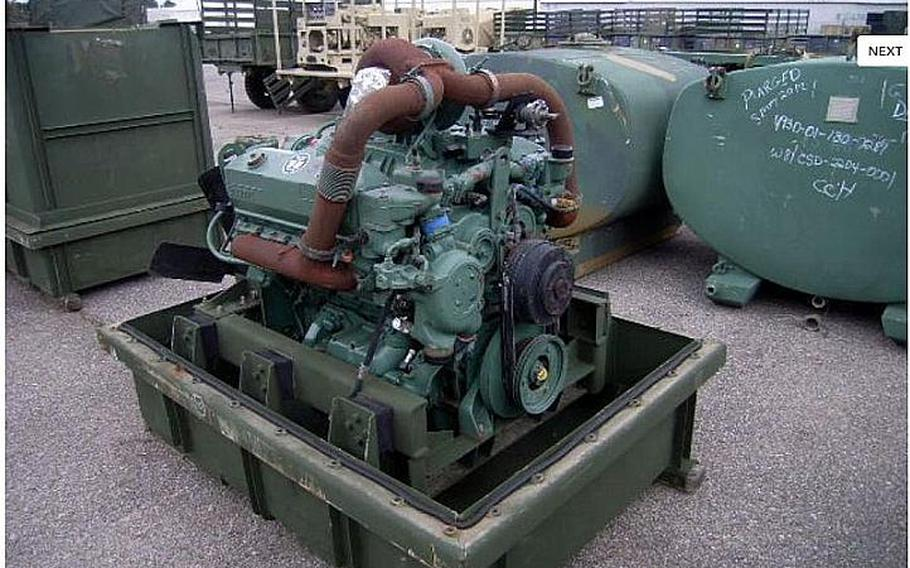 A Detroit Diesel 92 series 8 cylinder diesel engine and container are shown in this image from the Government Liquidation website.
