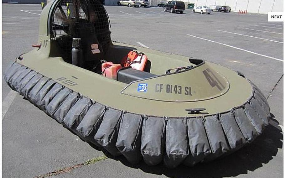 A hovercraft is shown in this image from the Government Liquidation website.