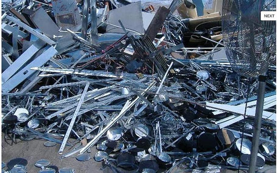 Approximately 60,000 pounds of scrap metal is shown in this image from the Government Liquidation website.