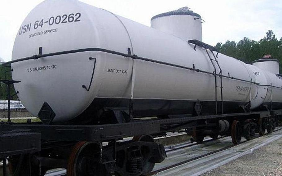 A railroad car is shown in this image from the Government Liquidation website.