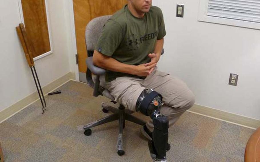 Retired Marine William Gadsby shows off his X2 microprocessor knee from Ottobock and BiOM ankle, developed by iWalk. When used together, Gadsby can walk with a natural gait like the uninjured, without pain and fatigue.