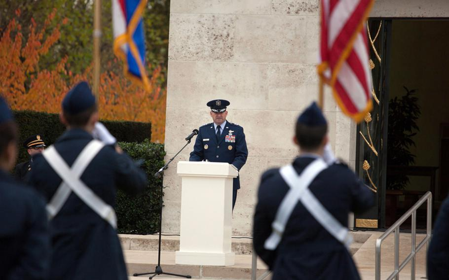 Maj. Gen. Joseph Reynes Jr., deputy chief of staff for operations at Allied Joint Forces Headquarters Brunssum, Netherlands, delivers a speech Friday, Nov. 9, 2012, at a Veterans Day ceremony at Netherlands American Cemetery and Memorial.