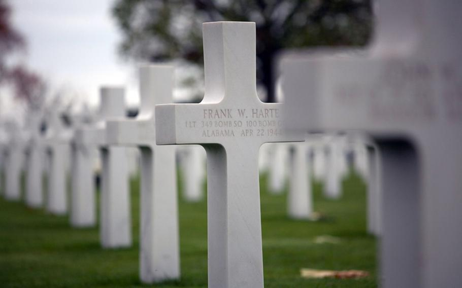 A total of 8,301 American servicemembers are buried at the Netherlands American Cemetery and Memorial, and the names of another 1,722 missing troops are etched into stone walls at the cemetery's entrance.