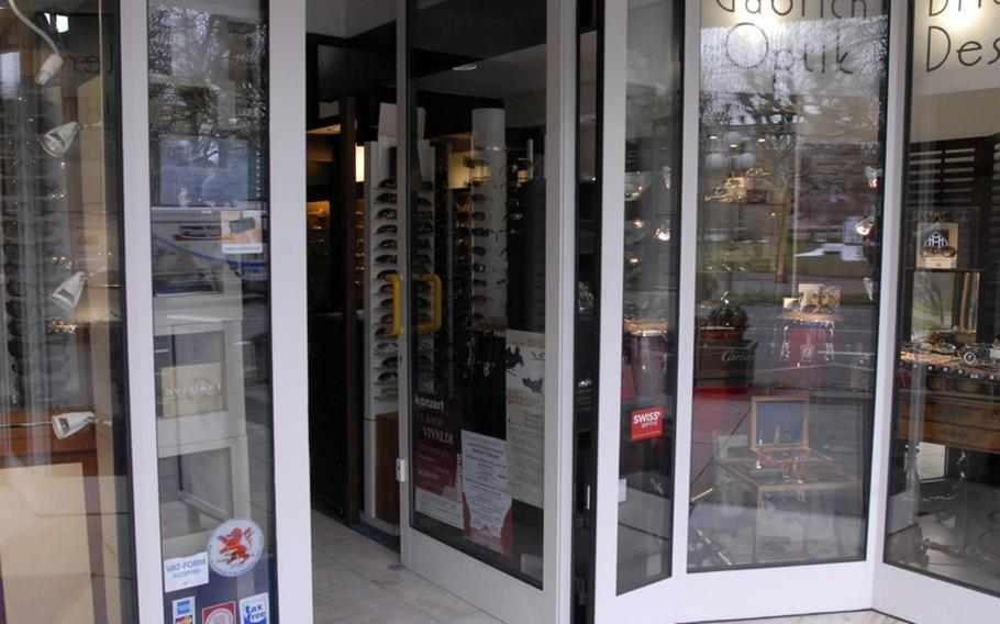 """Gabrich Optik in downtown Wiesbaden, Germany, is one of the first German stores to take out an advertisement in a """"Welcome to Wiesbaden"""" guide that will be distributed to incoming troops stationed in the city in the near future."""