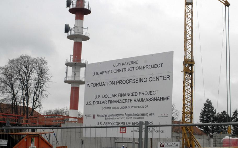 Construction on the $30.4 million Information Processing Center on Clay Kaserne in Wiesbaden, Germany, is expected to be complete in December of 2013. A parking garage will also be built to accommodate workers there.