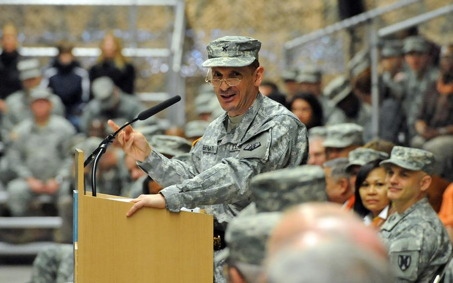 Brig. Gen. Paul Benenati, the new commander of the 7th Civil Support Command, speaks at the unit's change-of-command ceremony at Rhine Ordnance Barracks in Kaiserslautern, Germany, Friday. Benenati took over the reins of the 7th CSC from Brig. Gen. Mark Hendrix.