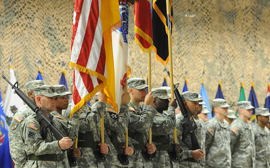 The 7th Civil Support Command color guard at the unit's change-of-command ceremony at Rhine Ordnance Barracks in Kaiserslautern, Germany, Friday. Brig. Gen. Paul Benenati took over as commander of the 7th CSC from Brig. Gen. Mark Hendrix.